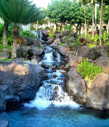 Water feature on Hilton Kauai Beach Resort grounds